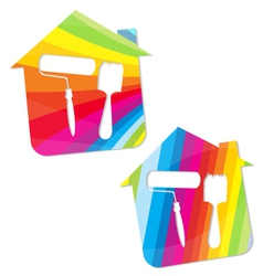 symbol painted houses vector image