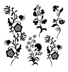 Black silhouette flowers vector