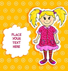 Little blond girl card vector