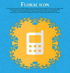 Mobile phone floral flat design on a blue abstract vector
