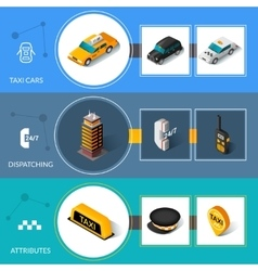 Taxi isometric flat informative banners set vector