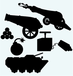 Set artillery cannon tank and bombs vector