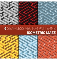 Set of six variants of maze labyrinth - endless vector