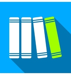 Library books flat long shadow square icon vector