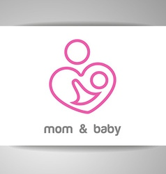 Mom and baby logo identity vector