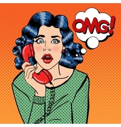 Shocked young woman talking on the phone pop art vector