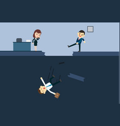 Businessman kick a employee to abyss of vector