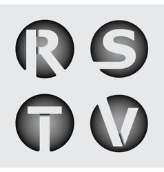 Capital letter r s t v of wide white stripes vector