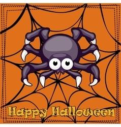 Card Happy Halloween cartoon Spider vector image vector image