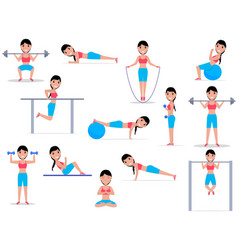 cartoon girl doing exercises vector image vector image