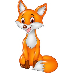 Cartoon happy fox sitting isolated vector