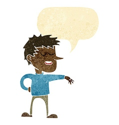 Cartoon man making dismissive gesture with speech vector