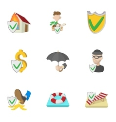 Confidence icons set cartoon style vector