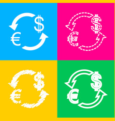 Currency exchange sign euro and us dollar four vector