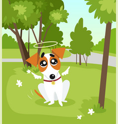Cute jack russell terrier dog with angel wings and vector