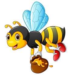 Flying bee cartoon holding honey bucket vector