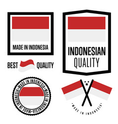 Indonesia quality label set for goods vector