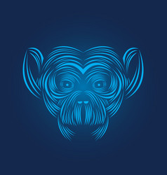 monkey head icon line art vector image