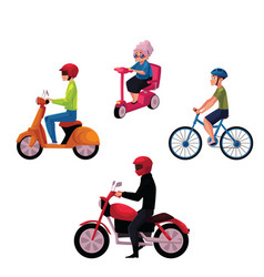 people riding bicycle scooter motorcycle urban vector image vector image