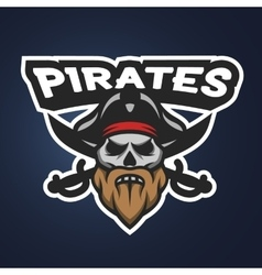 Pirate captain skull sport emblem vector