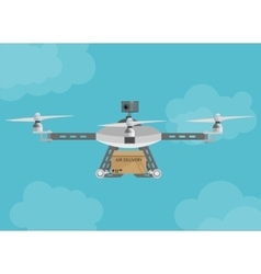 Remote air delivery drone with a box package vector image