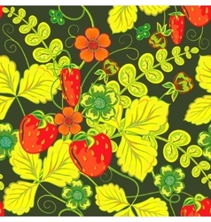 Repeating Seamless pattern with strawberry vector image