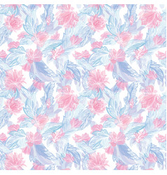 romantic feather and lily pattern vector image vector image