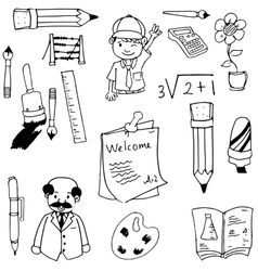 School doodles black and white vector