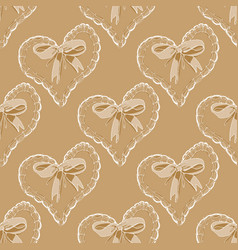 seamless pattern with hearts and bow vector image