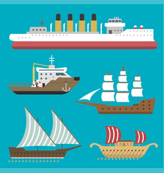Ship boat sea symbol vessel travel industry vector