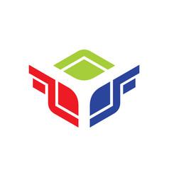 Square wing design logo vector