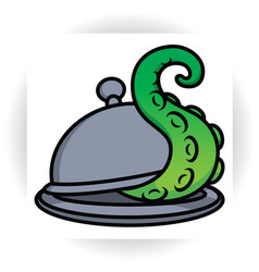 Tentacle protrudes from serving dish with lid vector