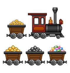 Train with mine tubs vector image vector image