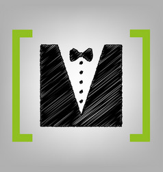 tuxedo with bow silhouette black scribble vector image vector image