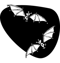 Two bats flying vector image