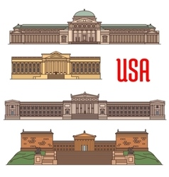 Usa famous travel attractions landmarks vector