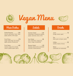 Vegan cafe menu hand drawn design vector
