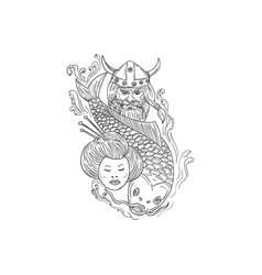 viking carp geisha head black and white drawing vector image vector image