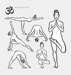 Yoga asanas set - vector