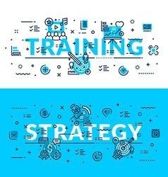 Training and strategy heading title web banner vector