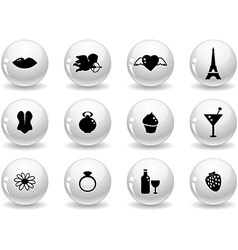 Web buttons romantic icons vector image