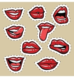 Set of red female lips and tongue vector