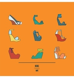 Lovely set with stylish fashion shoes hand drawn vector