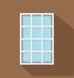 White latticed rectangle window icon flat style vector