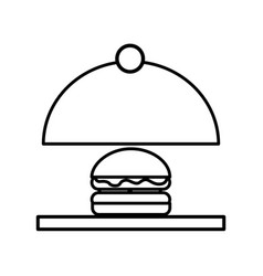 Tray server with burger isolated icon vector