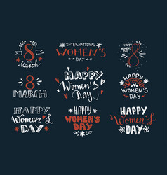 Womens day hand drawn lettering labels design vector