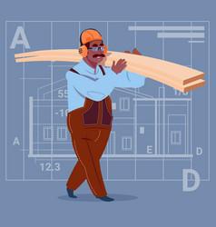 Cartoon african american builder holding planks vector