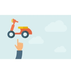 Hand pointing to a motorbike icon vector