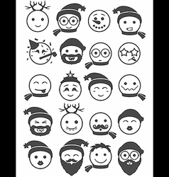 Icons set 20 smiles winter black and white vector