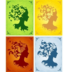Colorful seasonal womens profiles vector